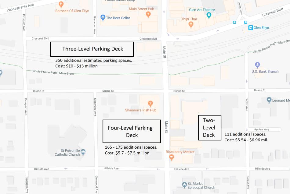 potential new parking garage sites in glen ellyn il