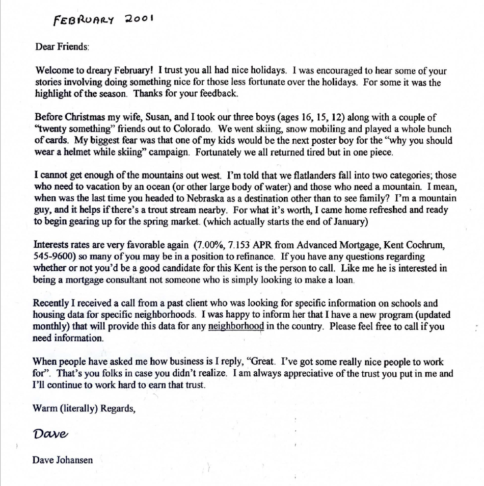 Dads newsletter February 2001