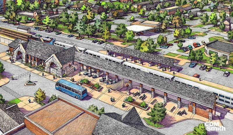 rendering of new glen ellyn train station